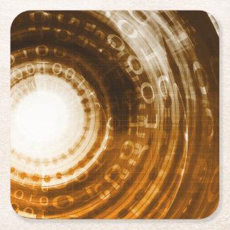 Porta-copo De Papel Quadrado Fundo do abstrato dos dados binários para Digitas