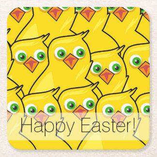 Porta-copo De Papel Quadrado Galinhas amarelas brilhantes bonitas da páscoa