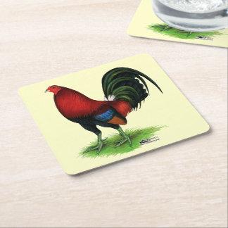 Porta-copo De Papel Quadrado Gamecock:  Escuro - vermelho