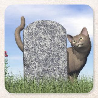 Porta-copo De Papel Quadrado Gato triste perto da lápide