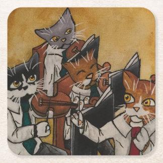 Porta-copo De Papel Quadrado Gatos orquestrais