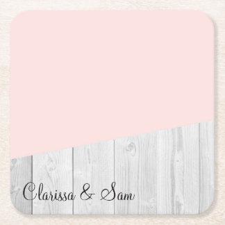 Porta-copo De Papel Quadrado geométrico de madeira branco do rosa pastel do