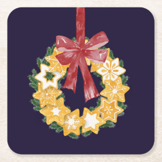 Porta-copo De Papel Quadrado Grinalda do biscoito do Natal com fundo dos azuis