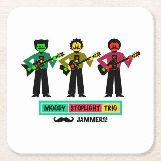 Porta-copo De Papel Quadrado Guitarristas temperamentais 1 do Mustachio do trio