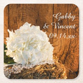 Porta-copo De Papel Quadrado Hydrangea branco e casamento de madeira do país do