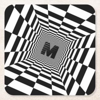 Porta-copo De Papel Quadrado Ilusão, monograma ou inicial visual preta & branca