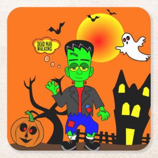 Porta-copo De Papel Quadrado Imagem do monstro de Frankenstein engraçado