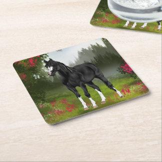 Porta-copo De Papel Quadrado Impressão árabe preto do cavalo