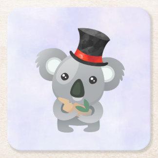 Porta-copo De Papel Quadrado Koala bonito em um chapéu alto preto