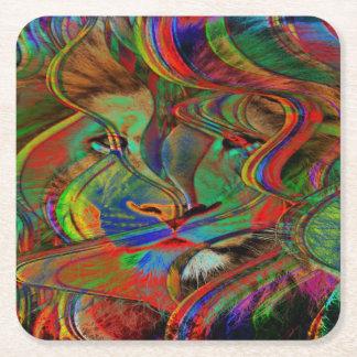 Porta-copo De Papel Quadrado Leão abstrato