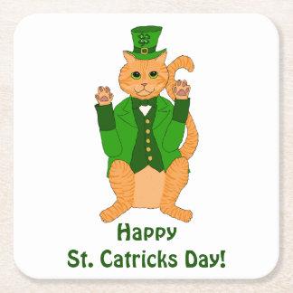 Porta-copo De Papel Quadrado Leprechaun bonito do gato do dia do St. Catrick