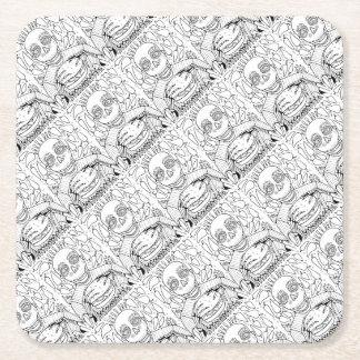 Porta-copo De Papel Quadrado Linha design do hamburguer da arte