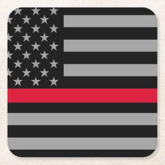Porta-copo De Papel Quadrado Linha vermelha fina portas copos da bandeira