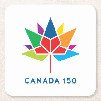 Porta-copo De Papel Quadrado Logotipo do oficial de Canadá 150 - multicolorido