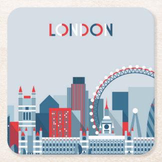 Porta-copo De Papel Quadrado Londres, Inglaterra skyline vermelha, branca e