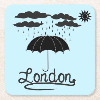 Porta-copo De Papel Quadrado Londres | sob um guarda-chuva