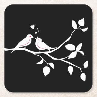 Porta-copo De Papel Quadrado Lovebirds preto e branco que Wedding, chá de
