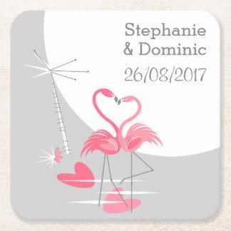 Porta-copo De Papel Quadrado Lua do amor do flamingo a grande nomeia o quadrado