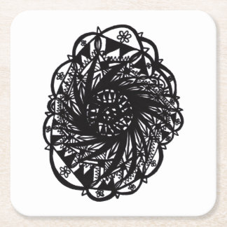 Porta-copo De Papel Quadrado Mandala preta da flor