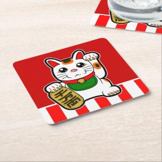 Porta-copo De Papel Quadrado Maneki Neko: Gato afortunado japonês