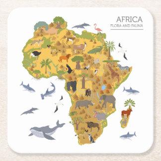 Porta-copo De Papel Quadrado Mapa da flora & da fauna de África |