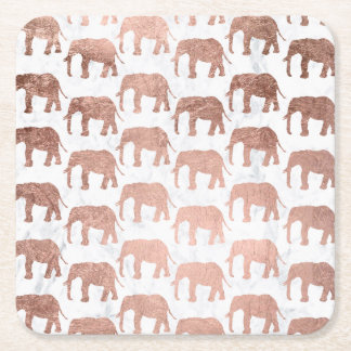 Porta-copo De Papel Quadrado Mármore cor-de-rosa do branco dos elefantes do