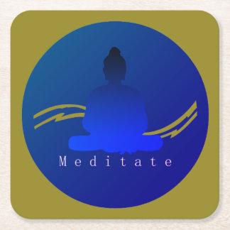 "Porta-copo De Papel Quadrado ""Meditate"" Buddha. bonito"