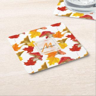 Porta-copo De Papel Quadrado Monograma colorido das folhas e dos cogumelos de