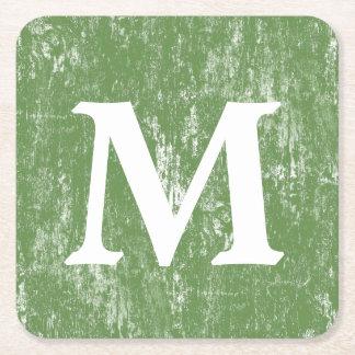 Porta-copo De Papel Quadrado Monograma de madeira afligido verde do MB