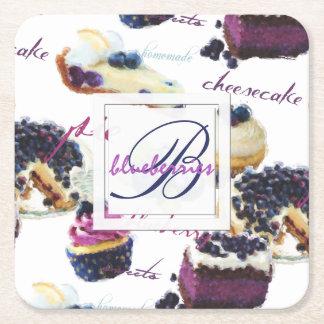 Porta-copo De Papel Quadrado Monograma dos mirtilos e dos doces da aguarela