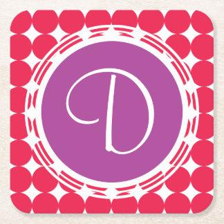 Porta-copo De Papel Quadrado Monograma roxo & vermelho das bolinhas