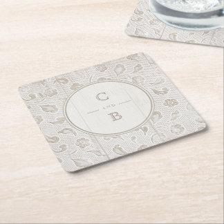 Porta-copo De Papel Quadrado Monograma rústico de madeira do casamento do país