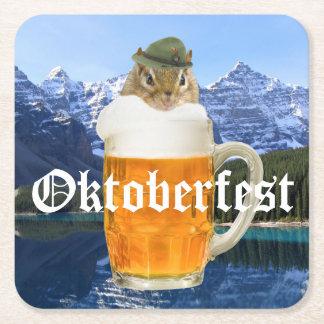 Porta-copo De Papel Quadrado Montanhas bonitos de Oktoberfest do Chipmunk