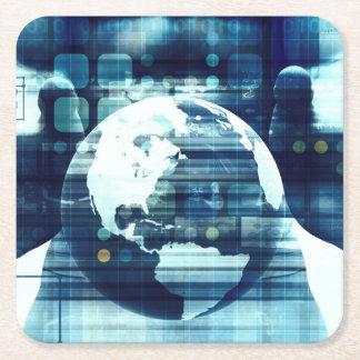 Porta-copo De Papel Quadrado Mundo de Digitas e indústria do estilo de vida da