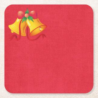 Porta-copo De Papel Quadrado Natal Bels amarelo na porta copos de papel