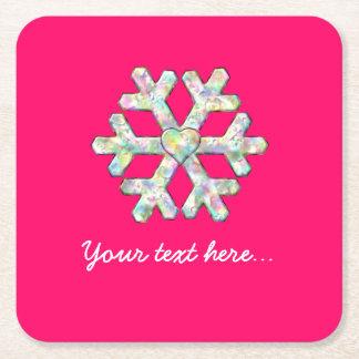 Porta-copo De Papel Quadrado Natal do rosa do floco de neve do rosa quente
