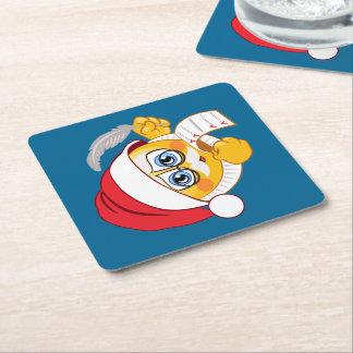 Porta-copo De Papel Quadrado Natal Emoji da lista do papai noel