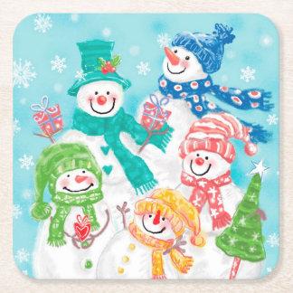 Porta-copo De Papel Quadrado Natal retro bonito do boneco de neve