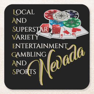 Porta-copo De Papel Quadrado Noite do póquer de Las Vegas Nevada