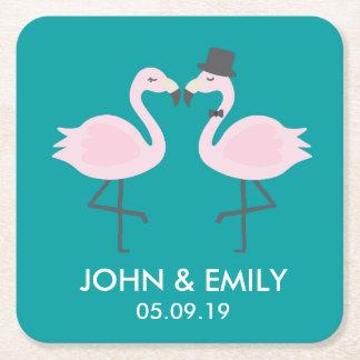 Porta-copo De Papel Quadrado Noiva do flamingo da cerceta & portas copos