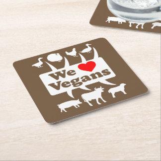 Porta-copo De Papel Quadrado Nós amamos os Vegans II (brancos)