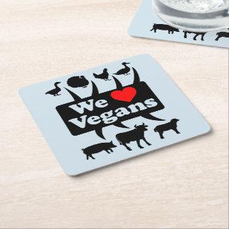 Porta-copo De Papel Quadrado Nós amamos Vegans II (o preto)