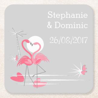 Porta-copo De Papel Quadrado O amor do flamingo nomeia o quadrado da porta