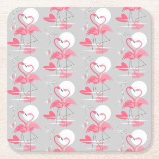 Porta-copo De Papel Quadrado O amor do flamingo telhou o quadrado da porta