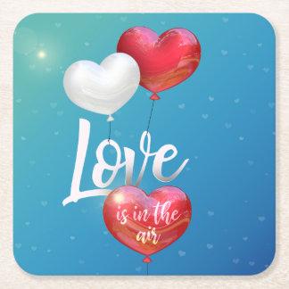 Porta-copo De Papel Quadrado O amor está na porta copos do papel do balão dos