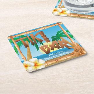 Porta-copo De Papel Quadrado O bar de Tiki personaliza oásis tropicais