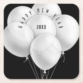 Porta-copo De Papel Quadrado O branco elegante Balloons a celebração do ano