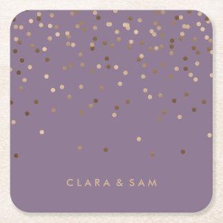 Porta-copo De Papel Quadrado o confete cor-de-rosa da folha de ouro do encanto