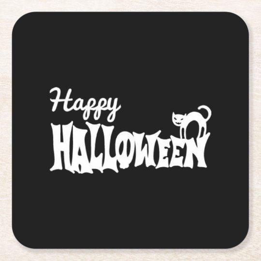 Porta-copo De Papel Quadrado O Dia das Bruxas feliz preto e branco