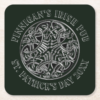 Porta-copo De Papel Quadrado O dia de St Patrick irlandês de estilo celta do